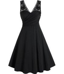 plus size lace panel surplice ruched a line dress