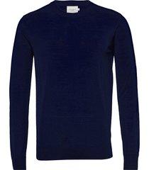 ben merino knit gebreide trui met ronde kraag blauw les deux