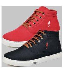 kit 2 pares sapatênis casual botinha masculino polo blu preto/vermelho