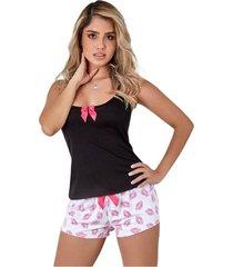 pijama short corto estampado y blusa mujer – bésame