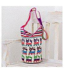 cotton bucket bag, 'cute cats' (guatemala)