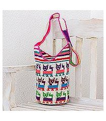 cotton bucket bag, 'cute cats' (guatemala)