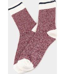 amber crew socks in burgundy - burgundy
