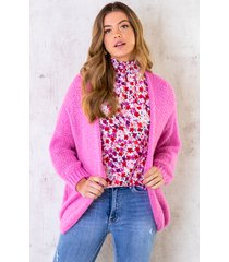 oversized knitted vest candy pink