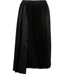 black comme des garçons asymmetric pleated satin skirt