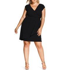 plus size women's city chic classic wrap style dress, size xx-large - black