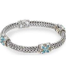 batu kawung blue topaz & sterling silver barrel station bracelet