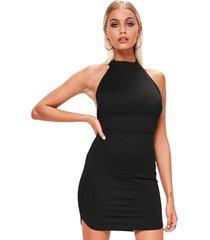 vestido racy modas curto tubinho com gola alta e costas nua preto