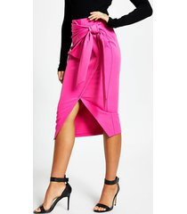 river island womens pink wrap front midi pencil skirt