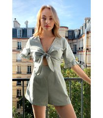 womens tied the wave cut-out romper - sage