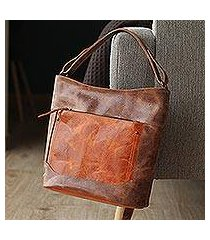 leather tote, 'fashionable brown' (mexico)