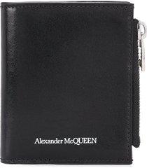 alexander mcqueen man black bifold wallet with white logo