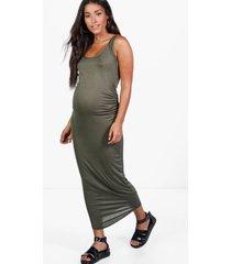 maternity basic midaxi dress, khaki