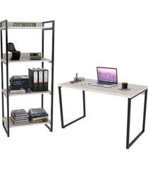 conjunto escritório estilo industrial mesa 120cm e estante 60cm 4 prateleiras prisma snow - mpozenato