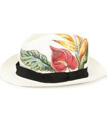 dolce & gabbana chapéu panamá estampado - branco