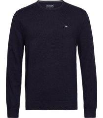 bradley crew neck sweater gebreide trui met ronde kraag blauw lexington clothing