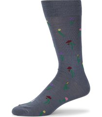 paul smith men's tiny flowers crew socks - light blue