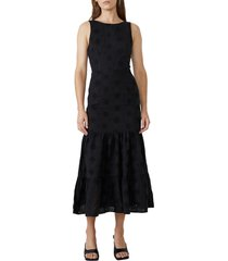 bardot reign eyelet maxi dress, size small in black at nordstrom