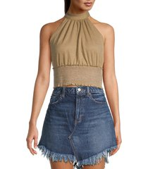 free people women's shirred cropped top - young love - size xl