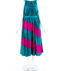 roksanda karema striped silk cape back dress green/pink sz: s