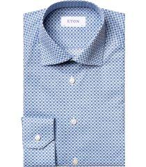 men's eton slim fit floral dress shirt, size 17.5 - blue