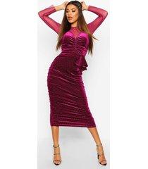 mesh/velvet studded midi dress, raspberry