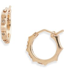 women's armenta cuento diamond huggie hoop earrings
