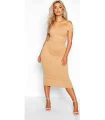 plus jumbo rib bardot midi dress, gold