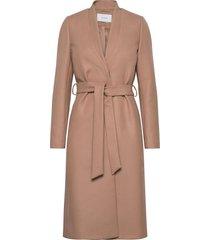 double collar coat wollen jas lange jas beige ivy & oak