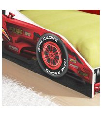 cama carro solteiro fórmula f96 - vermelho - rpm móveis
