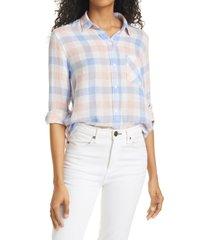 women's rails charli star print linen blend blouse, size medium - ivory