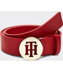 tommy hilfiger women's th leather belt tommy red - 36