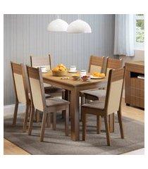 conjunto sala de jantar honduras madesa mesa tampo de madeira com 6 cadeiras marrom
