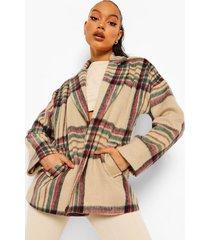 korte oversized nepwollen geruite jas, stone