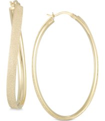 simone i smith satin-finished hoop earrings in 18k gold over sterling silver