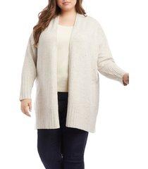 plus size women's karen kane long cardigan, size 0x - grey
