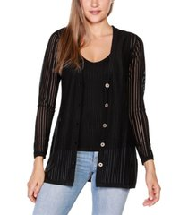 belldini black label striped long sleeve button-front cardigan
