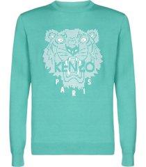 kenzo tiger head print sweater