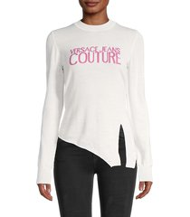 versace jeans couture women's asymmetrical wool logo top - white - size s