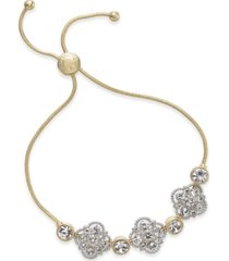 charter club two-tone crystal palazzo slider bracelet, created for macy's