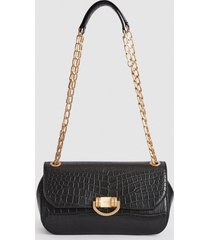 reiss lexi medium - leather croc embossed shoulder bag in black, womens