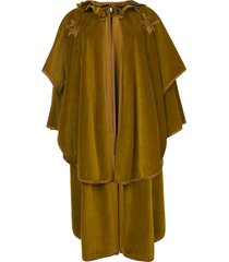 versace pre-owned embroidered lace-up cape - green