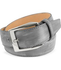 pakerson designer men's belts, men's gray hand painted italian leather belt