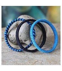 bangle bracelets, 'evening tide' (set of 3) (ghana)
