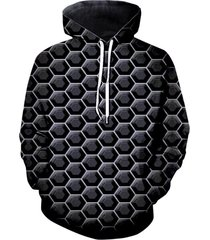 3d digital hexagon print front pocket casual hoodie