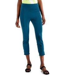 alfani petite fringe-trim skinny pants, created for macy's