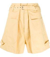 isabel marant pleated waist wide-leg shorts - yellow