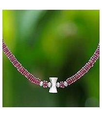 garnet beaded necklace, 'velvety love' (thailand)