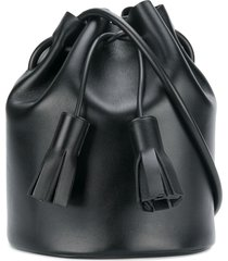 building block drawstring shoulder bag - black