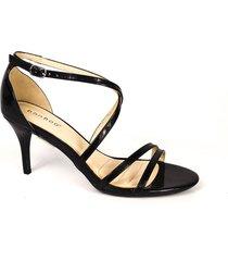 sandalia de vestir tacón medio negro charol bamboo